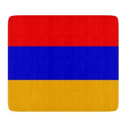 Small glass cutting board with flag of Armenia - home gifts ideas decor special unique custom individual customized individualized