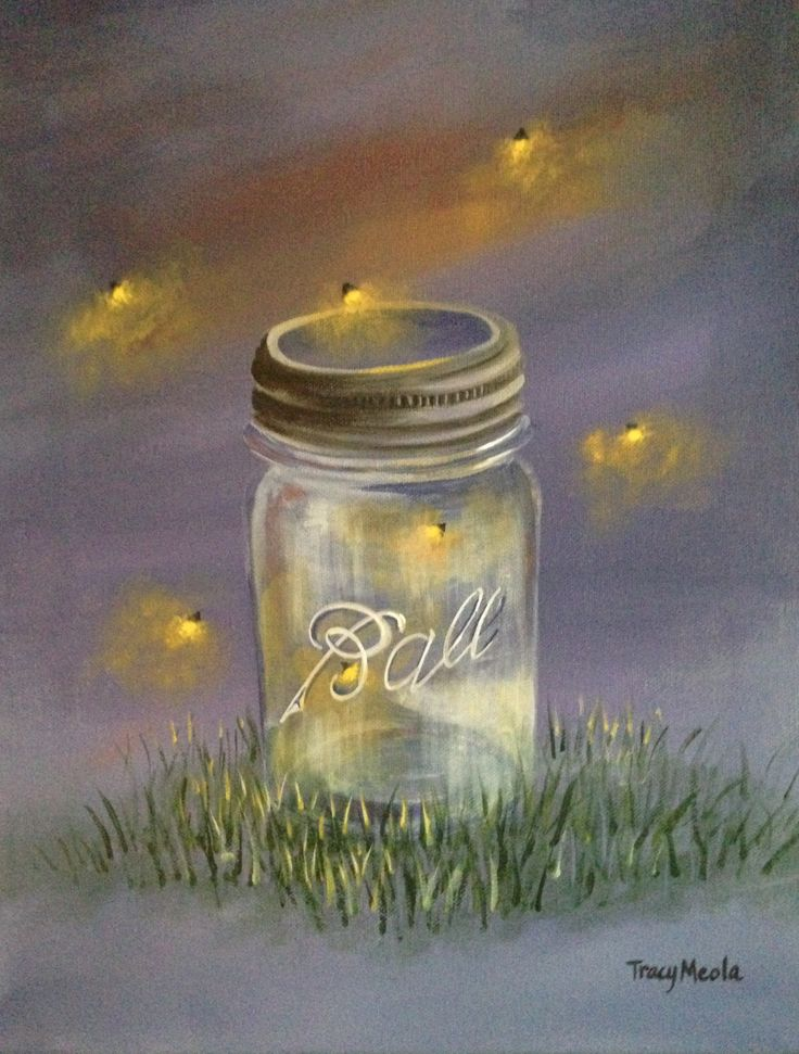 Catching Fireflies painting Acrylic on Canvas by Tracy Meola Not Available