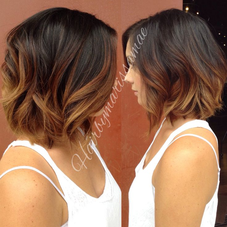 Short hair ombré with rich carmel tones and a shoulder length bob. Beachy curls and texture to finish. Instagram: hairbymarissamae