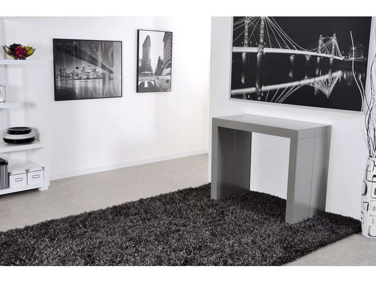 cool console avec allonges quatri coloris gris pas cher cuest sur conforama with gueridon conforama. Black Bedroom Furniture Sets. Home Design Ideas
