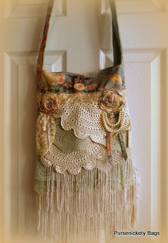Gypsy Bag large Shabby Chic bag soft thick ❤ by PursenicketyBags