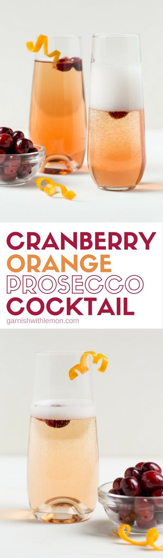 Bubbles add instant sparkle to a drink. This Cranberry Orange Prosecco Cocktail is a tasty way to toast friends and family this holiday season.