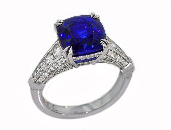 Angara Sapphire Ring - GIA Certified Cushion Sri Lankan Sapphire East-West Halo Ring juaTGbThAv