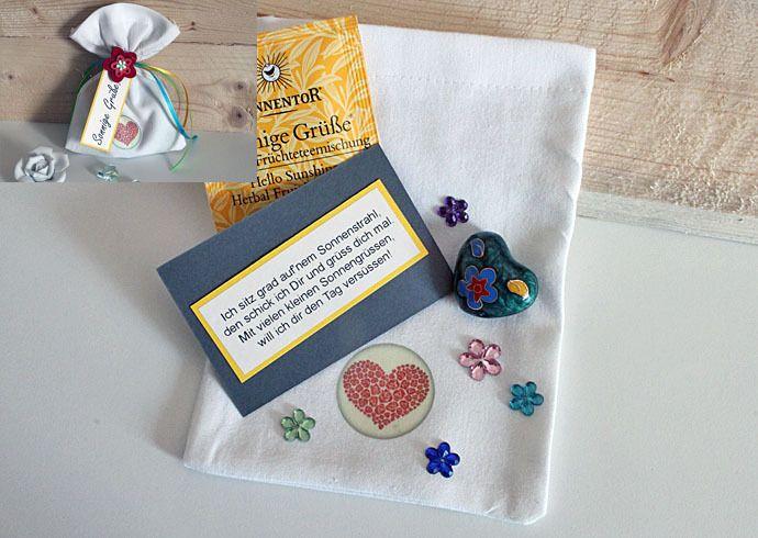Liebe & Freundschaft - Sonnige Grüße ! Ein Säckchen mit Klangherz + Tee - ein Designerstück von Kleinigkeiten-von-NB bei DaWanda