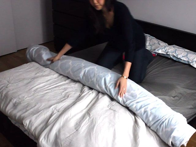"""The """"duvet burrito"""" makes changing your cover SO much easier."""