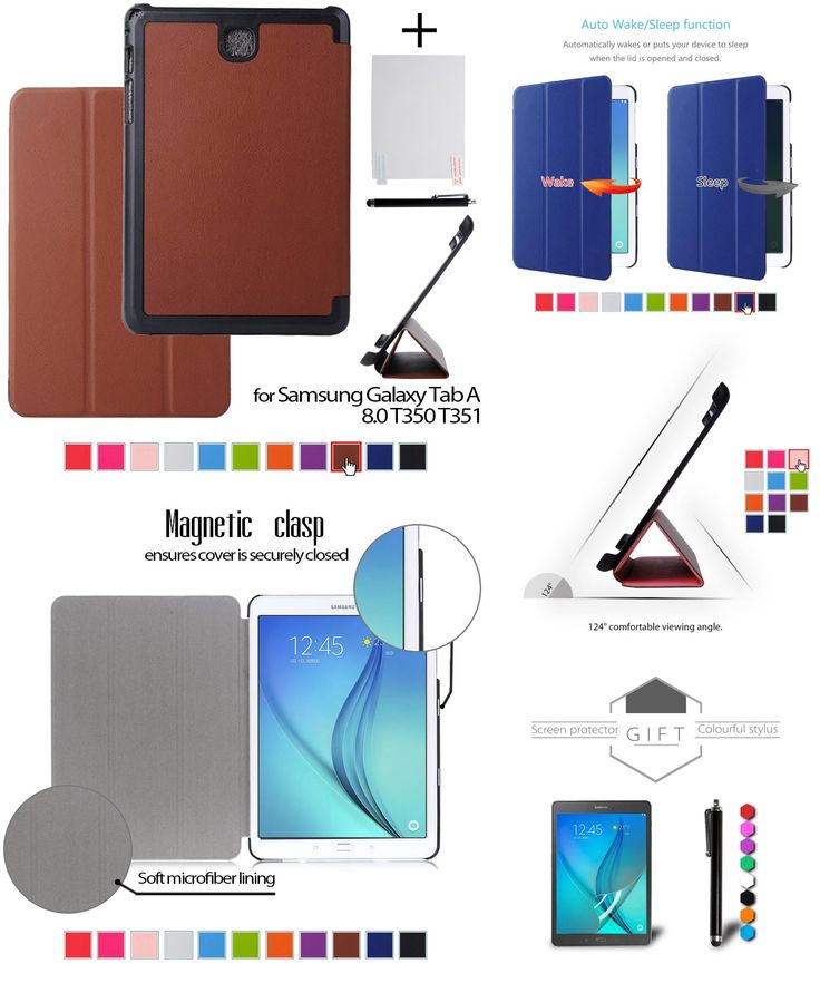 """[Visit to Buy] case for samsung Tab AS A8 leather protective cover case funda for samsung GALAXY Tab A 8.0 T350 T351 8"""" tablet+stylus pen+film #Advertisement"""