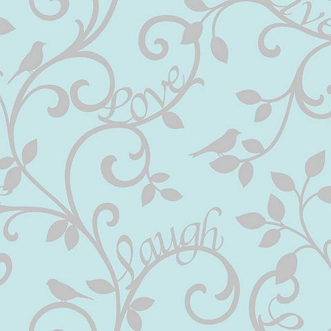 Tesco direct: Live Love Laugh Scroll Wallpaper - Teal and Silver - FD40288