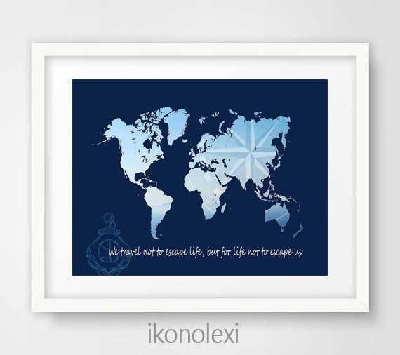 Blue map of the world, world map poster, nautical world map, world map art, world map print, map of world, kids room decor, teens wall art by Ikonolexi on Etsy