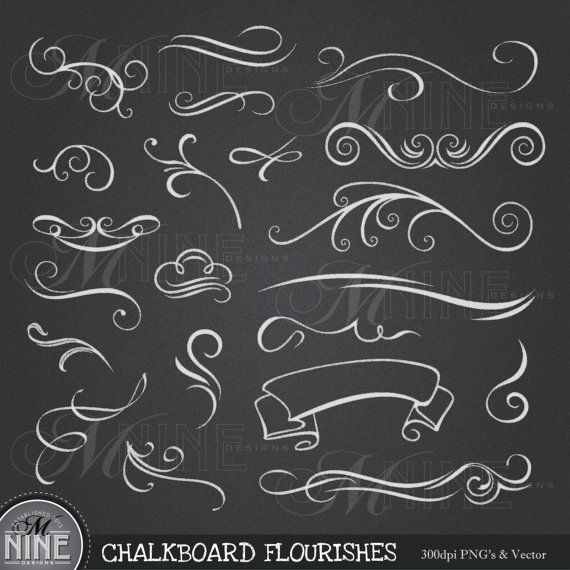 CHALKBOARD Clipart FLOURISHES Design Elements, Instant Download, 18 different Chalk Accents Vintage Elements Flourishes Scroll Clip Art