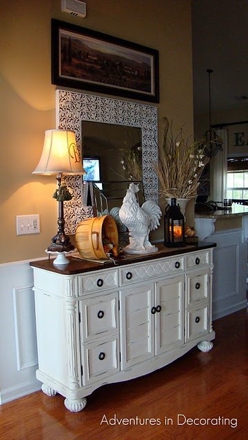 Love this dresser and the decor.. although I would get rid of the pic above the mirror.. a little too much!