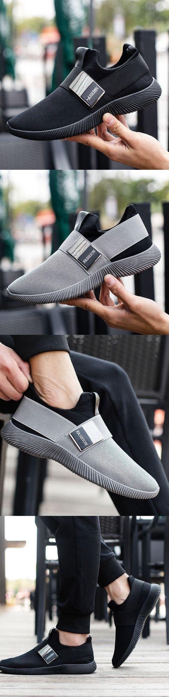 Men Stretch Mesh Fabric Elastic Panels Metal Decoration Sport Running Sneakers