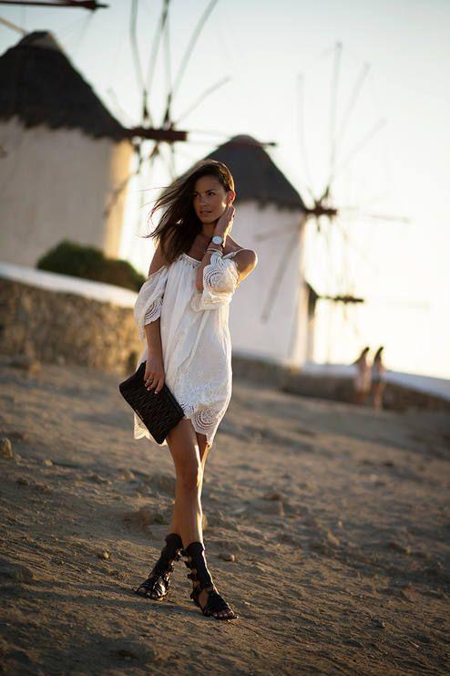 Sheinside White Scalloped Hem Lace Detail Drop Shoulder Cami Dress