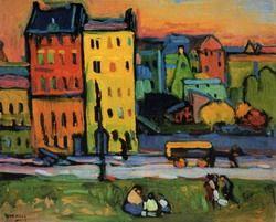 Painter Wassily Kandinsky. Houses in Munich. 1908