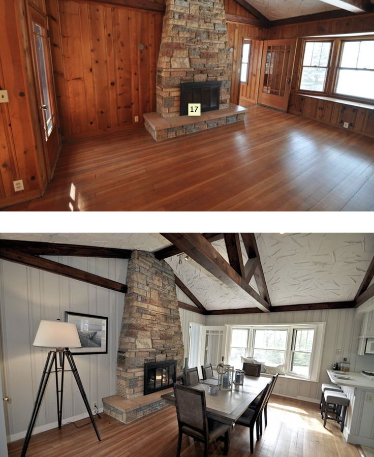 An entire cottage paneled in knotty pine, transformed by paint - check it out!