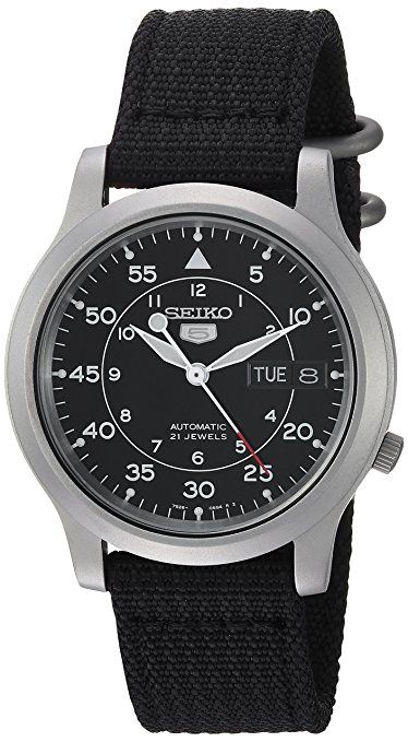 Seiko SNK809 - Military-style, Japanese automatic with an in-house movement. Great daily with a brown leather or calf-skin strap.
