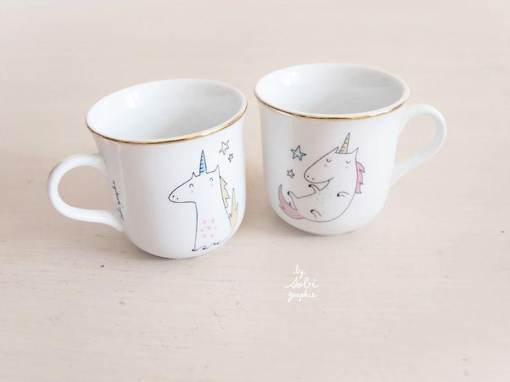 Small cup Unicorns / Petite tasse Licorne Sobi - Bird on the wire www.botw.fr