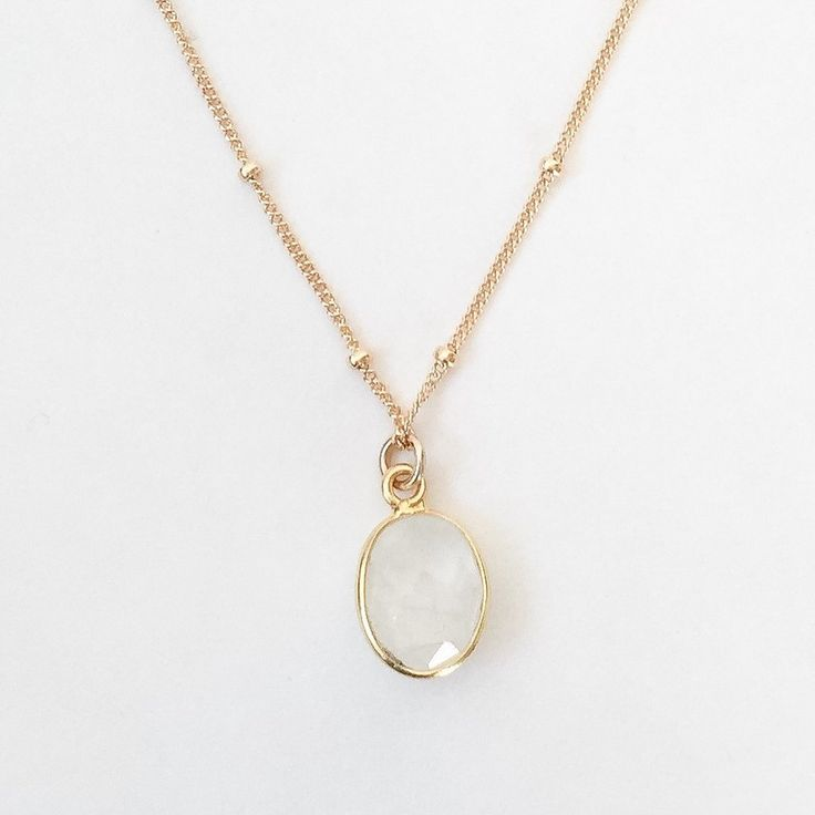 Gold Moonstone Necklace | layering necklace