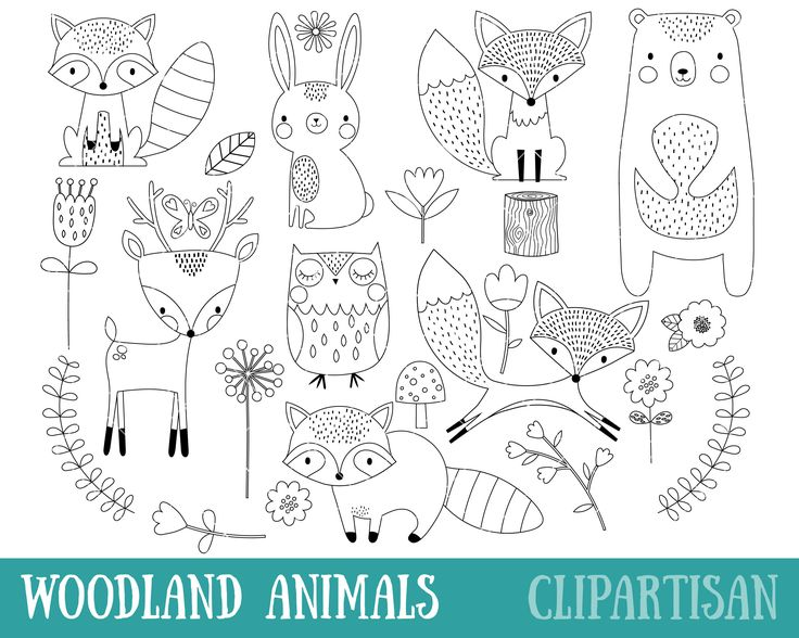 Woodland Animals Digital Stamp Line Art EPS Vector