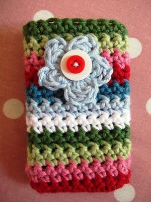 Garden Flower Crocheted Mobile Phone Pocket - maybe alter it to be a drink koozie??