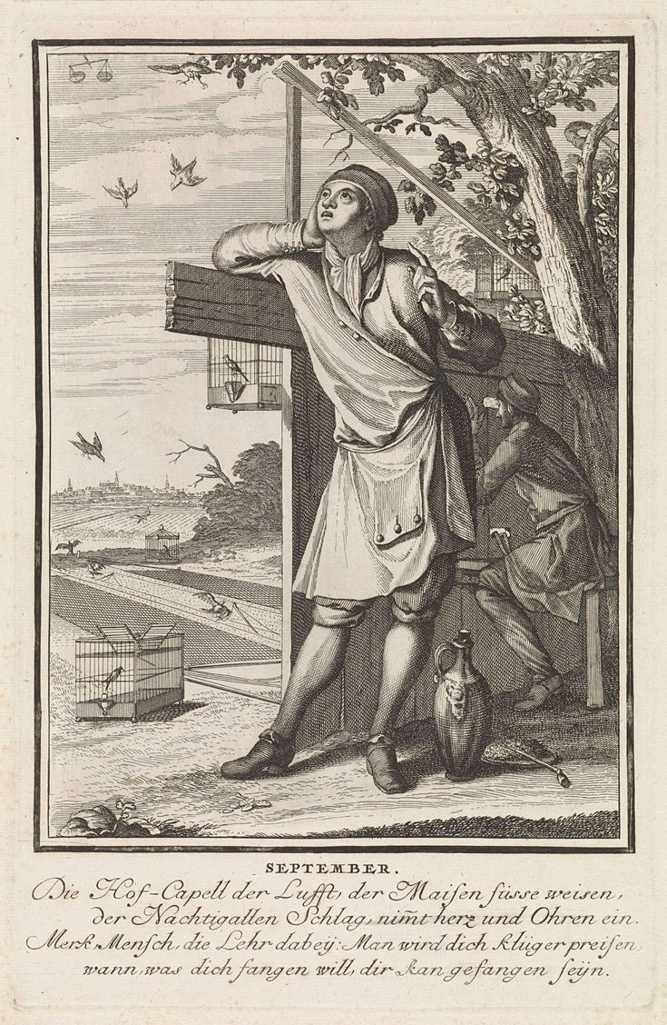 Caspar Luyken | September, Caspar Luyken, 1698 - 1702 | De maand september. Op de voorgrond een jongeling die van achter een hek naar vogels in de lucht kijkt. Achter hem een vogelvanger. Links op de achtergrond vogels die in netten verstrikt zijn. De prent heeft een Duits onderschrift van vier regels over de maand september.