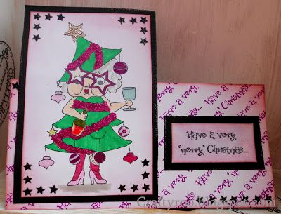 Merry Mavis, handmade card made using the new Christmas stamp sets from Nina Crafts/ Dimension Stamps.