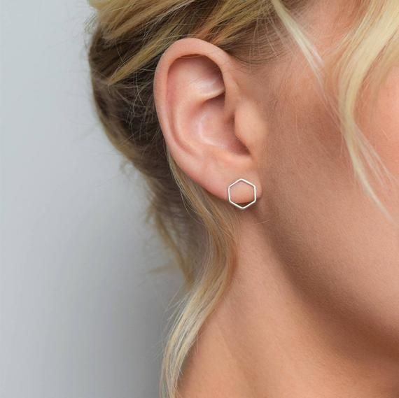 Long /'Thread Through/' Style Earrings with Hexagon Minimalist Costume Jewellery