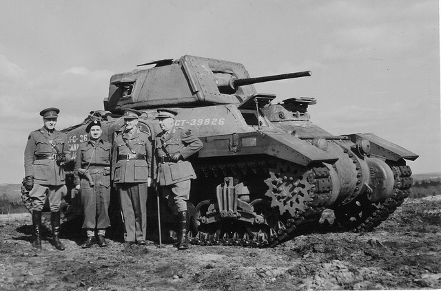 "Canadian Ram Mk I Canadian officers at the medium tank Ram (Ram) Mk I, designed on the basis of the American tank M3. on the front of the tank is a brass plate with the inscription ""donated by citizens of Kitchener and Waterloo, Ontario. This tank was manufactured in April 1942. In May 1942, the sixth Canadian Hussars armoured Regiment, which received this machine arrived. #worldwar2 #tanks"