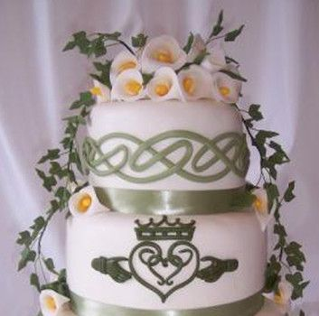 Irish wedding cake. I like the ribbon idea and the knots on the top layer