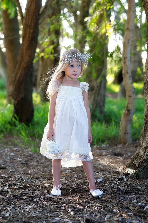 rustic flowergirls French Vanilla Off White dress by Tea Princess http://www.teaprincess.com.au/collections/ivory-wildflower-collection