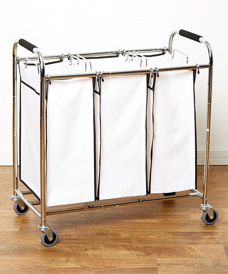 Saganizer laundry hamper with wheels rolling laundry cart Heavy duty Triple Laundry Sorter, Chrome/white laundry organizer