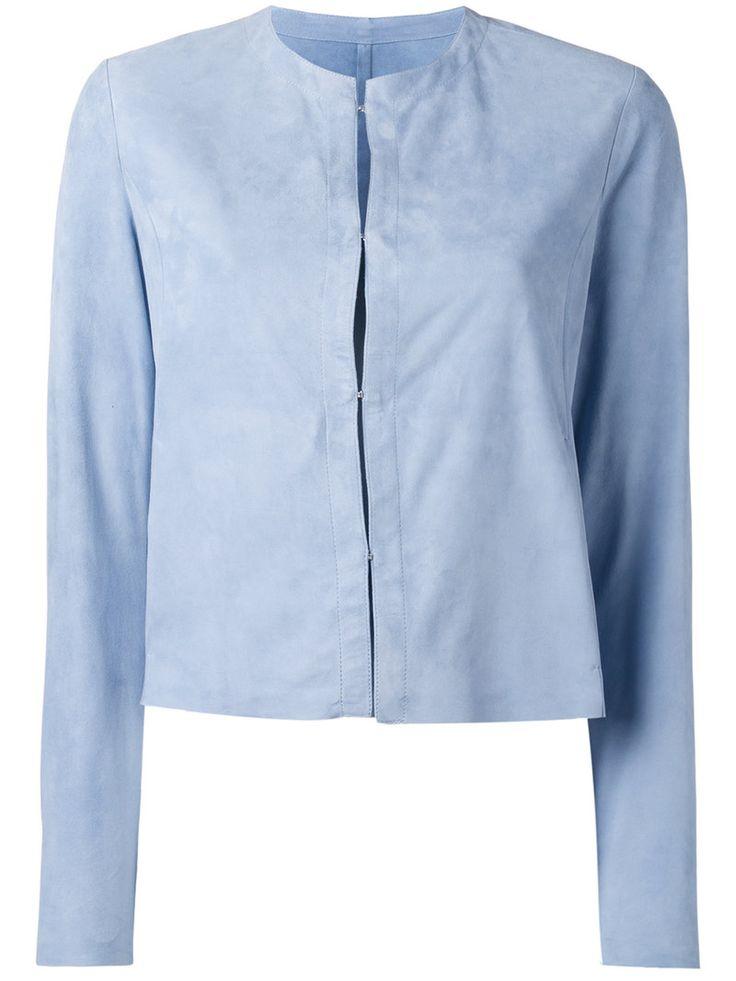 ¡Cómpralo ya!. Drome - Collarless Jacket - Women - Leather - S. Blue leather collarless jacket from Drome. Size: S. Gender: Female. , chaquetadecuero, polipiel, biker, ante, antelina, chupa, decuero, leather, suede, suedette, fauxleather, chaquetadecuero, lederjacke, chaquetadecuero, vesteencuir, giaccaincuio, piel. Chaqueta de cuero  de mujer color azul claro de DROME.