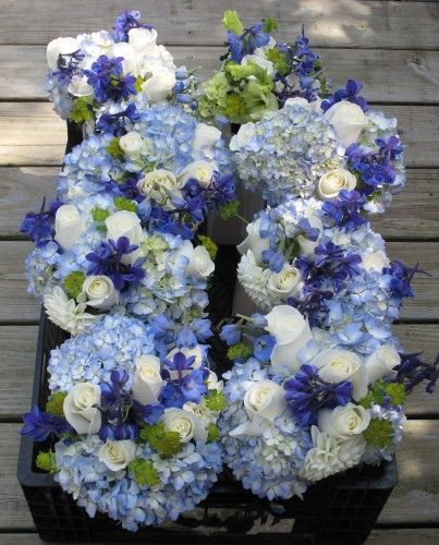light and dark blue with white flowers