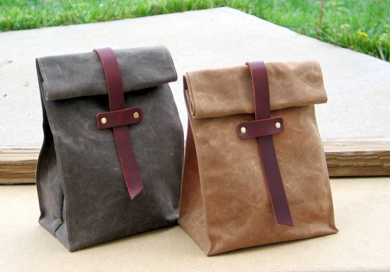 Waxed Canvas and Leather Lunch Tote Waxed Canvas Lunch by Zakken