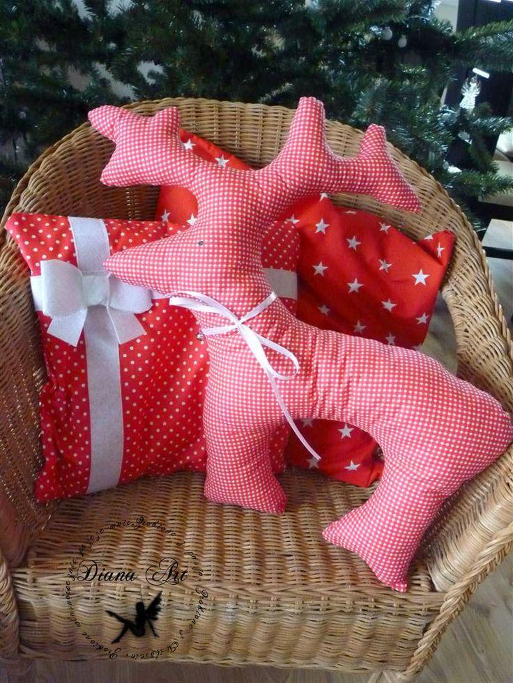 christmas, decorations, pillows, reindeer