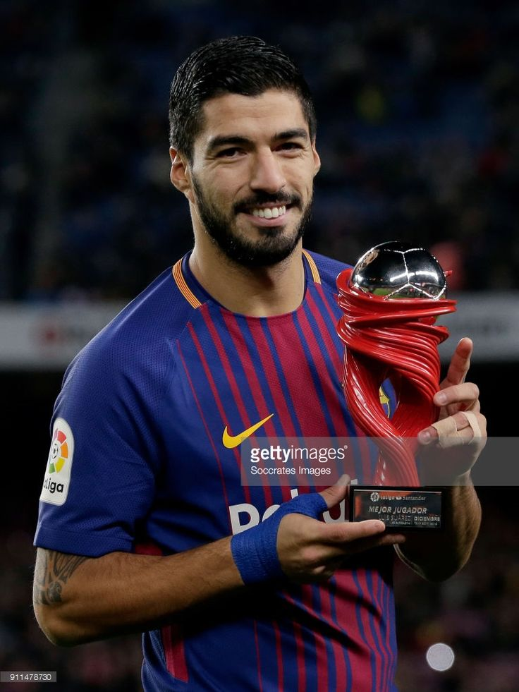 Luis Suarez of FC Barcelona player of the month trophy during the La Liga Santander match between FC Barcelona v Deportivo Alaves at the Camp Nou on January 28, 2018 in Barcelona Spain