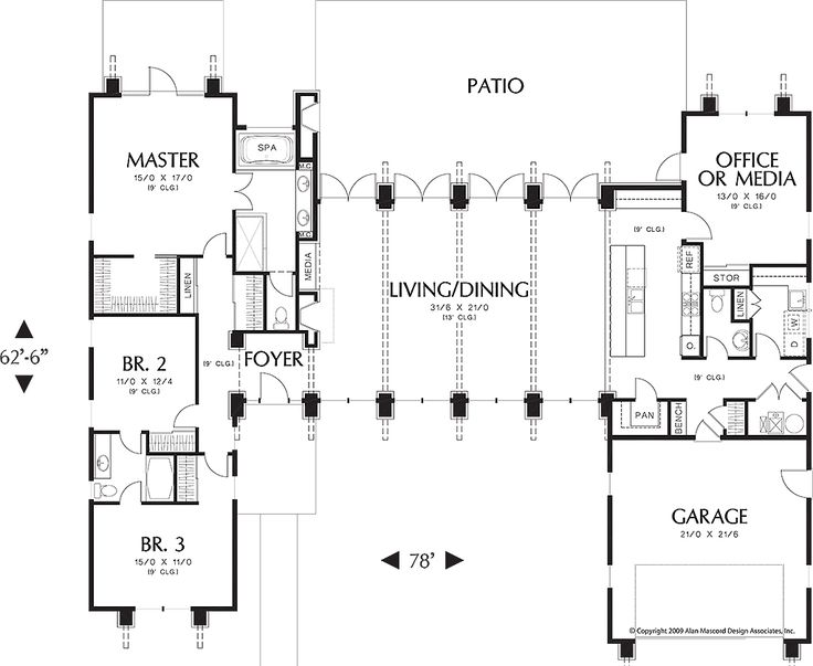 Main Level Floor Plan   2500 Square Foot Modern Home