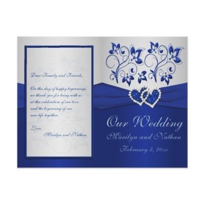 Royal Blue and Silver Floral Wedding Program