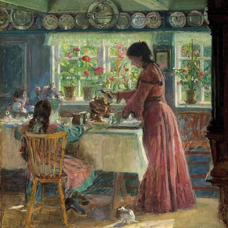 Gooooood mornin' Laurits Tuxen - 'Pouring the morning coffee' (1906). After being away from Skagen for more than two decades Tuxen acquired and renovated 'The last house on the western end of Skagen' in 1901-1902. Thereafter he stayed here every year for shorter or longer periods of time until his death in 1927 and painted several motifs from the dining room. Here Tuxens wife Frederikke serves coffee for the artists daughters Yvonne and Nina. The light shines warmly through the windows onto…