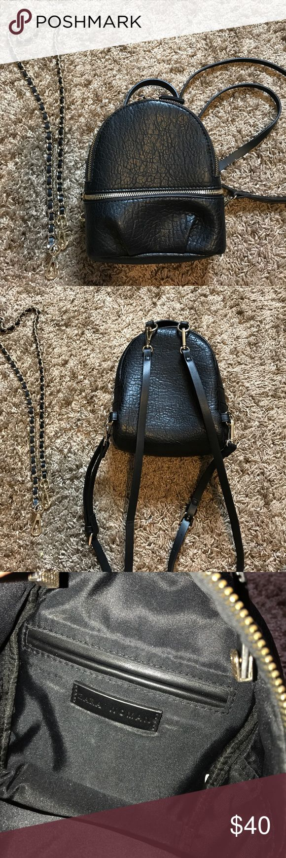 Zara Mini backpack in black faux pebbled leather Hi guys! I am selling a used Zara Mini Black backpack that a few vloggers were going after for. It is faux/fake pebbled leather. It can be worn as a shoulder bag and a mini backpack. I did buy it frm the Zara location in the Del Amo Mall. Light, normal wear on hardware, comes with the two backpack black removal straps and the the heavy gold& black chain as well. All are original and authentic. If you hace any qs or need more pics pls ask! Zara…