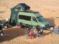 Iglhaut Allrad, built on a Mercedes Sprinter 318 CDI, camped out in the desert.