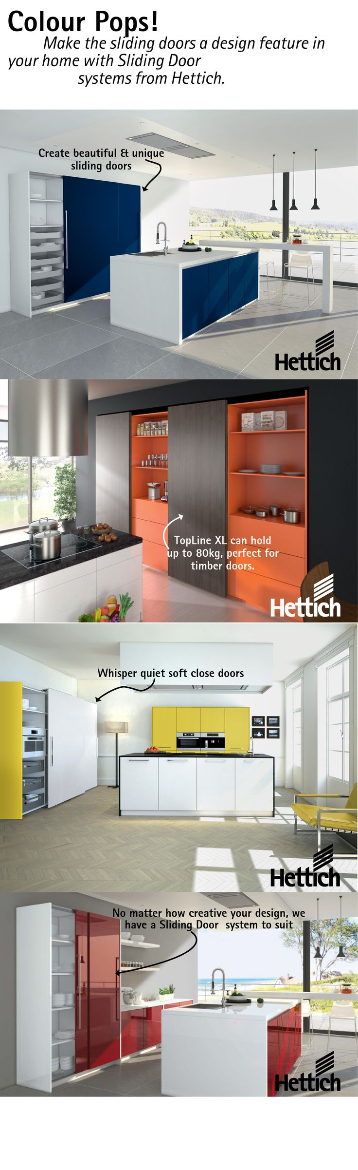 Hettich Sliding Door systems are perfect for your colourful kitchen doors. From your pantry to the cupboards Hettich has a system to suit. Click on the pin for more product information. #coloureddoors #kitchendesign