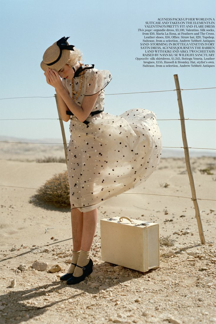Agyness Deyn photographed in the Namib Desert for the May 2011 issue, wearing a Valentino printed dress with silk socks and Office shoes. Photo By Tim Walker/Vogue