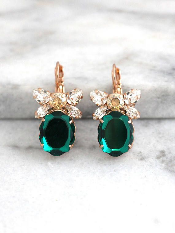 Emerald Earrings, Bridal Drop Earrings, Swarovski Dangle Earrings, Green Crystal Earrings, Bridesmaids Earrings, Gift For Her, Emerald Drops  Dazzling Cluster Crystal earrings feature a Baroque mirror cut crystal set on a secure prong settings. The perfect shade for cocktail parties or to add a touch of color to your wedding ensemble  Petite Delights is an Official SWAROVSKI® Branding Partner Our brand is legally licensed & authorized By Swarovski Company for high quality manufacturing. ...