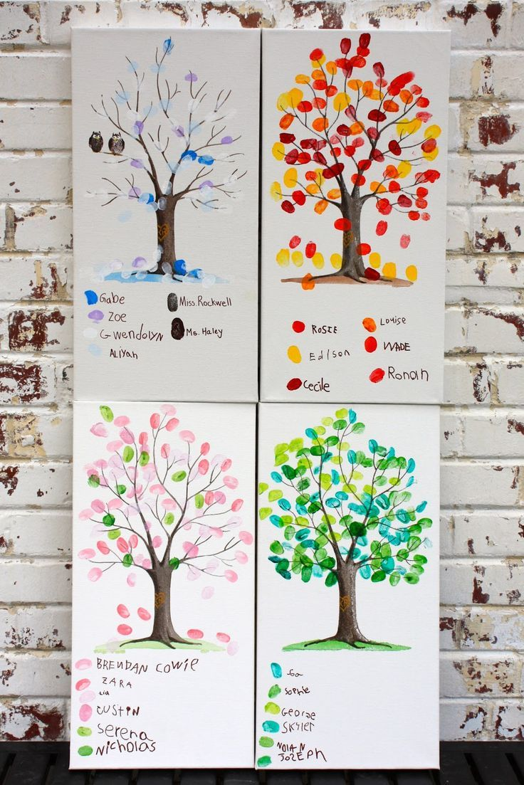 Beautiful kids crafts. Create the trunks then lay out the colors for each one, then the kids can go to work. You can do a different color scheme for all the seasons
