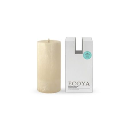 Ecoya Pillar Candle – Lotus Flower. A heavenly blend of white lotus flower is contrasted with deeper shades of vanilla and patchouli to create a warm and delicately spicy mix that is both sensual and relaxing.