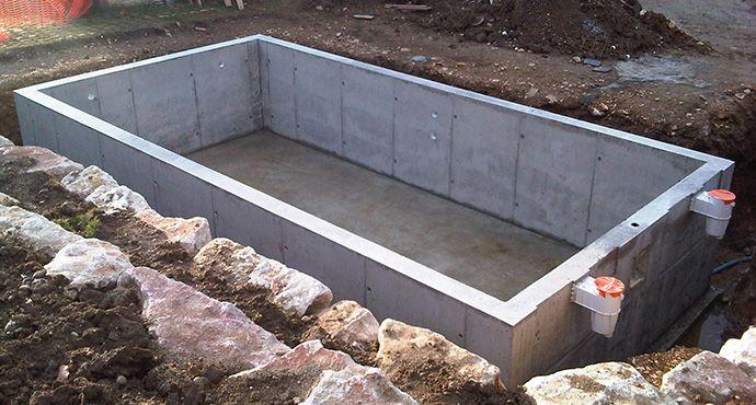 Piscine en b ton cuvel e ou non tanche idee pinterest for Constructeur de piscine en beton