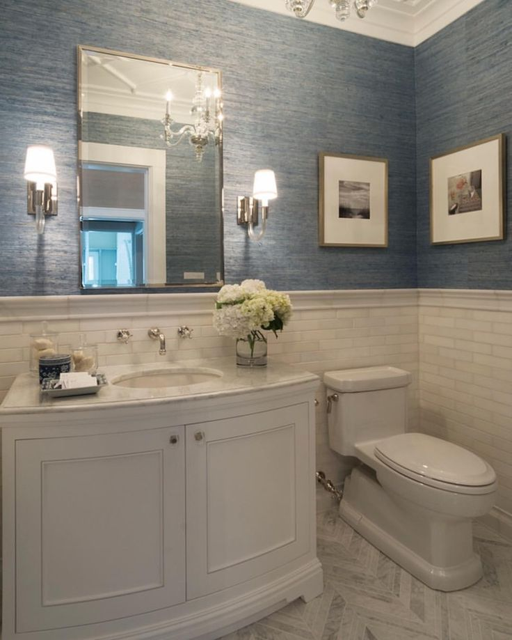 powder room grasscloth