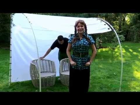 158 Навес из ПВХ труб и занавесок для ванной. - YouTube