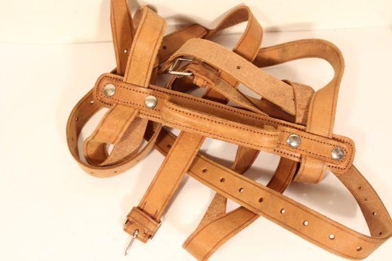 Vintage luggage straps genuine leather France by Fleagleeattic
