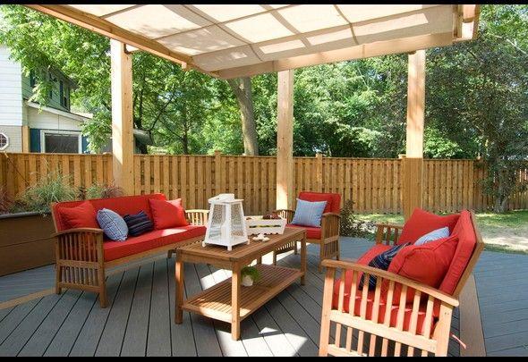 50 Beautiful Backyard Ideas | Photos | HGTV Canada note the retractable awning on the pergola.